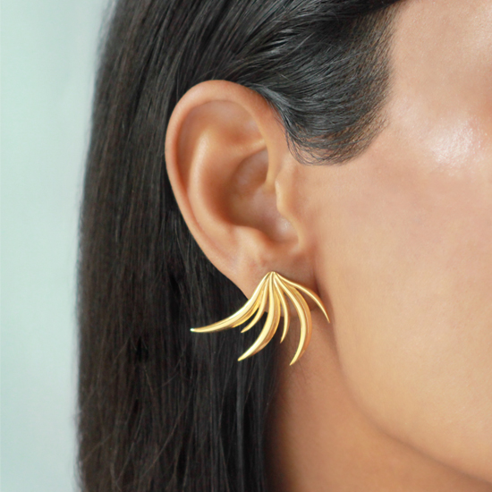 Golden Attalea Earrings worn