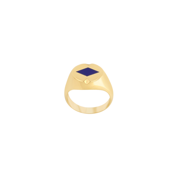 Image of Audrey Diamond Gold Signet Ring from NIOMO's Signet Collection with dark blue gemstone called lapis lazuli, cut in diamond shape. The ring is made of solid 925 sterling silver and plated in 18kt yellow gold. Available in different sizes.