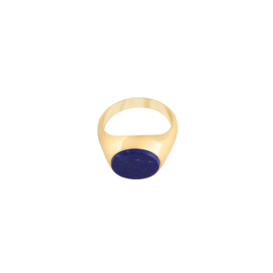 Image of Audrey Oval Gold signet ring from NIOMO's Signet Collection with dark blue gemstone called lapis lazuli, cut in oval shape. The ring is made of solid 925 sterling silver and plated in 18kt yellow gold. It's available in different sizes.
