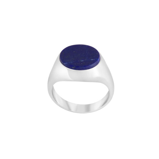 Image of Audrey Oval Silver Signet Ring from NIOMO's Signet Collection with dark blue gemstone called lapis lazuli, cut in oval shape. The ring is made of solid 925 sterling silver and available in different sizes.