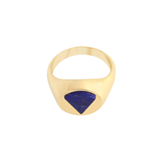 Image of Audrey Triangle Gold Signet Ring from NIOMO's Signet Collection with dark blue gemstone called lapis lazuli, cut in triangle shape. The ring is made of solid 925 sterling silver and plated in 18tk yellow gold. Available in different sizes.