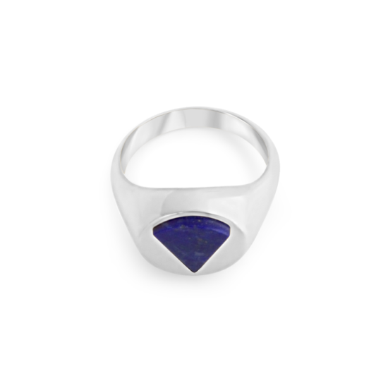 Image of Audrey Triangle Silver Signet Ring from NIOMO's Signet Collection with dark blue gemstone called lapis lazuli, cut in triangle shape. The ring is made of solid 925 sterling silver and available in different sizes.