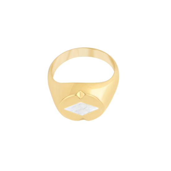 Image of Lana Diamond Gold Signet Ring from NIOMO's Signet Collection with white gemstone called howlite, cut in diamond shape. The ring is made of solid 925 sterling silver and plated in 18kt yellow gold. Available in different sizes.