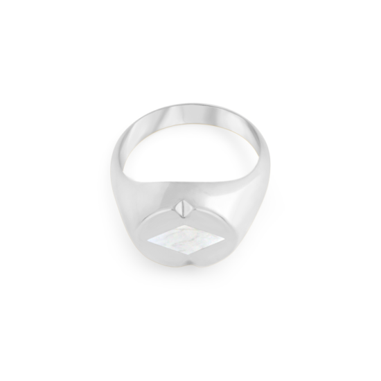 Image of Lana Diamond Silver Signet Ring from NIOMO's Signet Collection with white gemstone called howlite, cut in diamond shape. The ring is made of solid 925 sterling silver and available in different sizes.