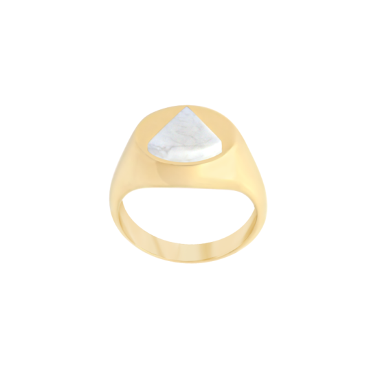 Image of Lana Triangle Gold Signet Ring from NIOMO's Signet Collection with white gemstone called howlite, cut in triangle shape. The ring is made of solid 925 sterling silver and plated in 18tk yellow gold. Available in different sizes.