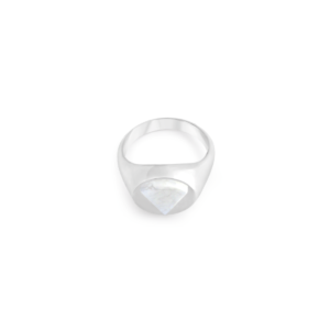 Image of Lana Triangle Silver Signet Ring from NIOMO's Signet Collection with white gemstone called howlite, cut in triangle shape. The ring is made of solid 925 sterling silver and available in different sizes.