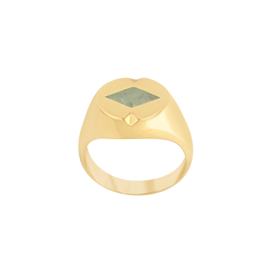 Image of Paloma Diamond Gold Signet Ring from NIOMO's Signet Collection with medium green gemstone called aventurine, cut in diamond shape. The ring is made of solid 925 sterling silver and plated in 18tk yellow gold. Available in different sizes.