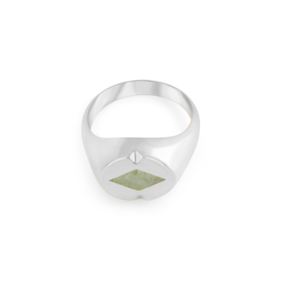 Image of Paloma Diamond Silver Signet Ring from NIOMO's Signet Collection with medium green gemstone called aventurine, cut in diamond shape. The ring is made of solid 925 sterling silver and available in different sizes.