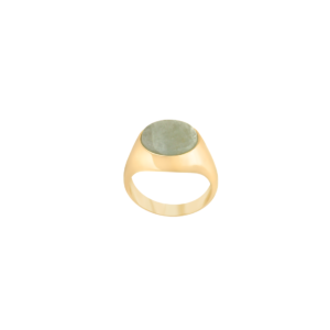 Image of Paloma Oval Gold signet ring from NIOMO's Signet Collection with medium green gemstone called aventurine, cut in oval shape. The ring is made of solid 925 sterling silver and plated in 18kt yellow gold. It's available in different sizes.