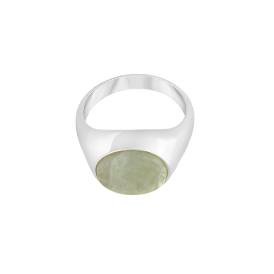 Image of Paloma Oval Silver signet ring from NIOMO's Signet Collection with medium green gemstone called aventurine, cut in oval shape. The ring is made of solid 925 sterling silver and available in different sizes.