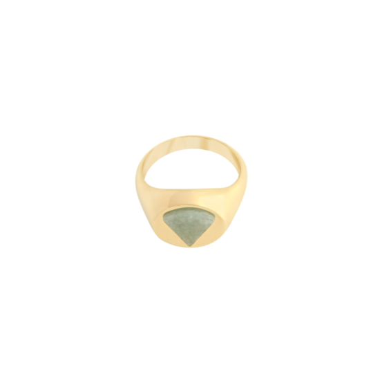 Image of Paloma Triangle Gold Signet Ring from NIOMO's Signet Collection with medium green gemstone called aventurine, cut in triangle shape. The ring is made of solid 925 sterling silver and plated in 18tk yellow gold. Available in different sizes.
