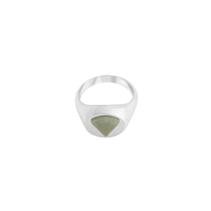 Image of Paloma Triangle Silver Signet Ring from NIOMO's Signet Collection with medium green gemstone called aventurine, cut in triangle shape. The ring is made of solid 925 sterling silver and available in different sizes.