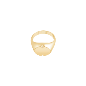 Image of Phoebe Gold Signet Ring from NIOMO's Signet Collection with oval shaped surface and small cut out details. The ring is made of solid 925 sterling silver and is plated in 18kt yellow gold. Available in different sizes.