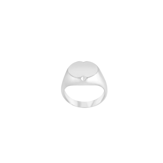 Image of Phoebe Silver Signet Ring from NIOMO's Signet Collection with oval shaped surface and small cut out details. The ring is made of solid 925 sterling silver and available in different sizes.